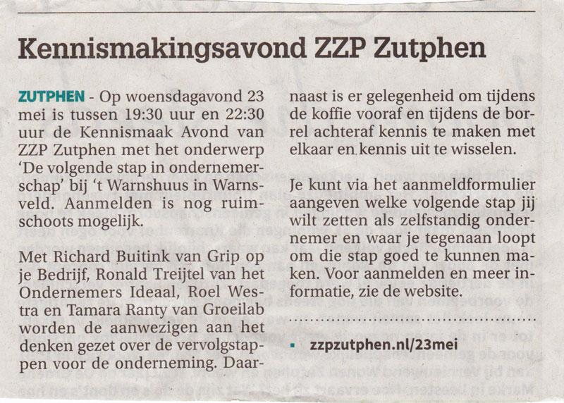 Kennismaak Avond ZZP Zutphen 23 mei 2018