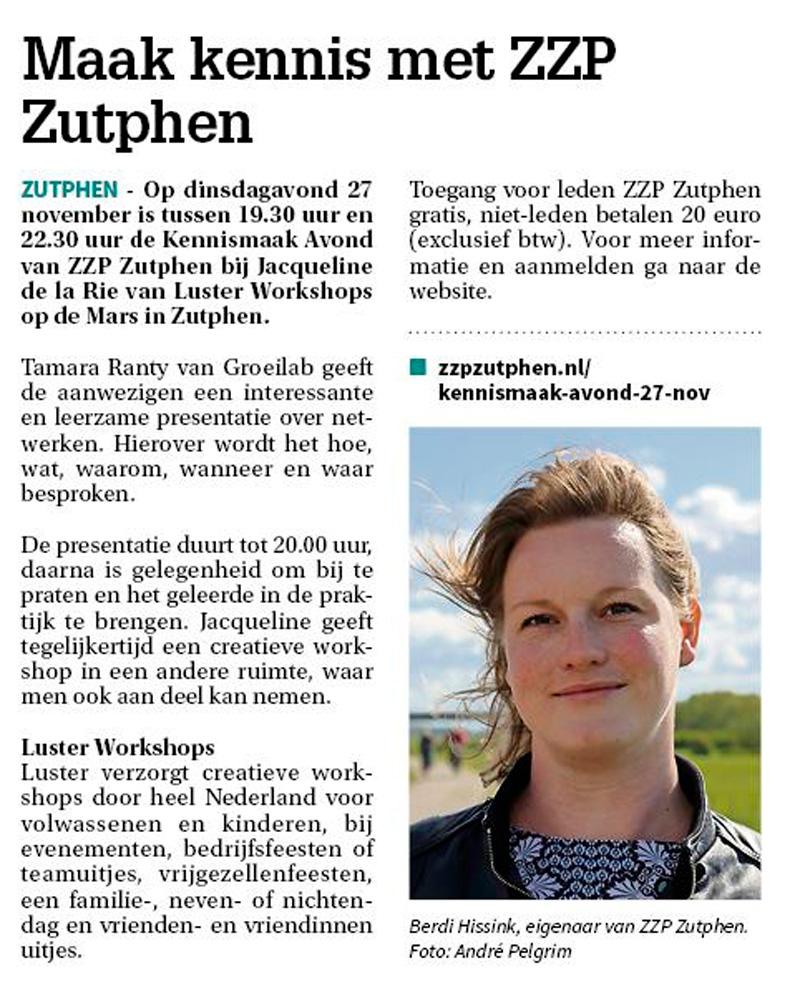 Persbericht Kennismaak Avond ZZP Zutphen